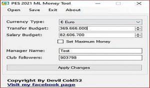نرم افزار هک پول در مسترلیگ Master League Money Tool برای PES 2021