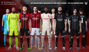 کیت پک تیم AC Milan Kits Season 2021/2022 برای PES 2021
