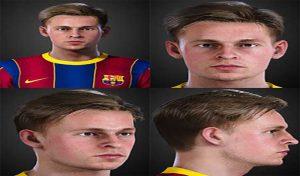 فیس F.De Jong تبدیلی از FIFA 21 برای PES 2021