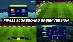 اسکوربرد FIFA 2022 NEW SCOREBAORD GREEN برای PES 2017