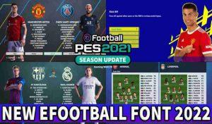 فونت EFOOTBALL FONT 2022 برای PES 2021